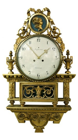 Swedish Gustavian Signed Wall Clock. Signed By Engstrom. Robert Engström was born in 1864 and died in 1926. A well-known clockmaker in Stockholm, he specialized in gilt wood wall clocks in both Gustavian and empire styles. He received the royal warrant to her majesty Queen Victoria in Sweden in 1910.