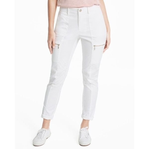 White House Black Market Curvy Utility Slim Pants ($60) ❤ liked on Polyvore featuring pants, utility pants, zip pants, zipper trousers, slim fit trousers and zipper pocket cargo pants