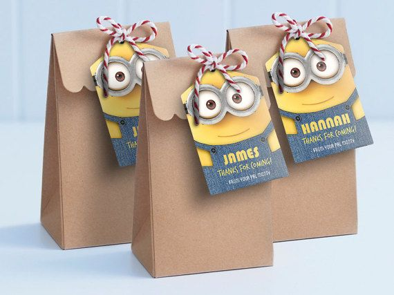 Minion printable lollie bag tags - edit and print as many copies as you like / personalised loot bags / Minion theme party tags