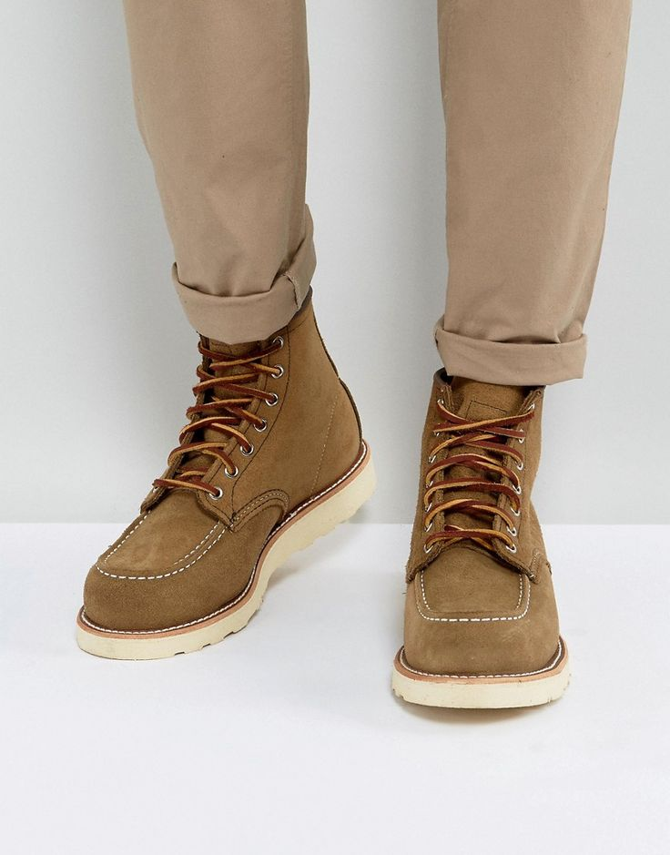 Get this Red Wing's high sneakers now! Click for more details. Worldwide shipping. Red Wing 6 Inch Classic Moc Toe Suede Boots In Olive - Beige: Boots by Red Wing, Leather upper, Lace-up fastening, Round toe, Stitch detail, Moulded tread, Treat with a leather protector, 100% Real Leather Upper. Founding the Red Wing shoe company in 1905, Charles Beckman produced purpose-built work boots tough enough for the factory floor or construction site. Retaining the same Red Wing durability and…