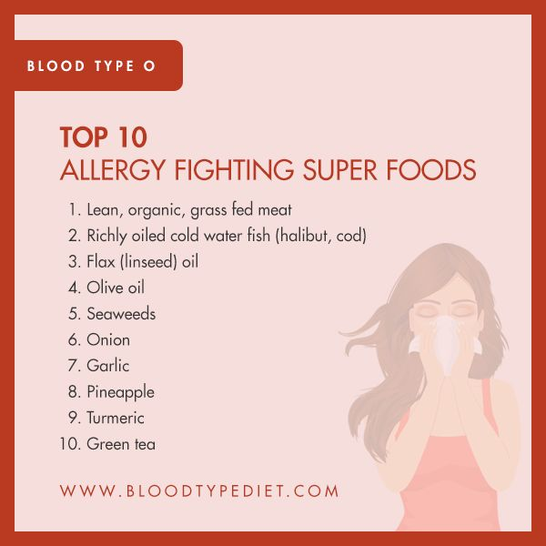Top 10 Allergy Fighting Super Foods for Blood Type O