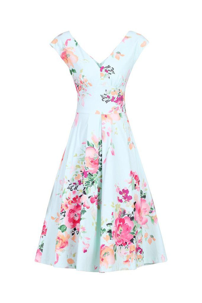 Sky Blue Floral Print V Neck Sleeveless 50s Swing Flare Dress
