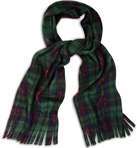 From 3.87 Super Soft Cosy And Warm Tartan Check Fleece Scarf Scarves With Tassles (green)