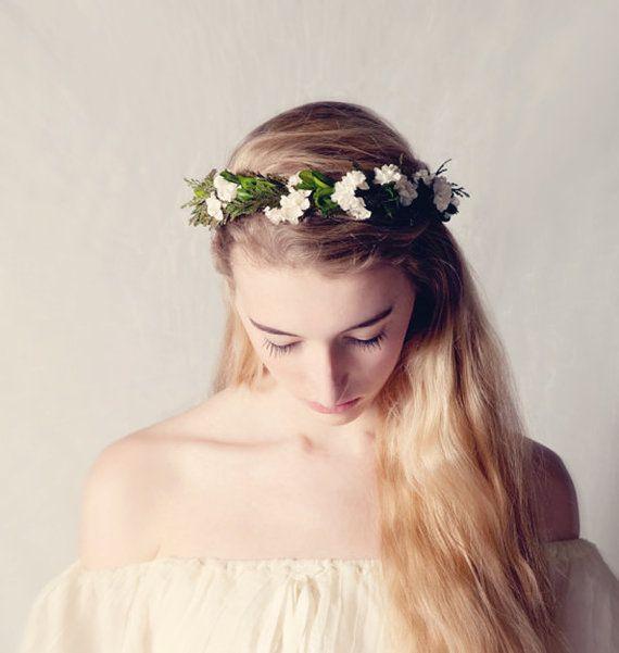 Leafy woodland crown, Flower crown, Natural boho bridal hair wreath, Bridal headpiece, Wedding crown, Floral head piece - OPHELIA