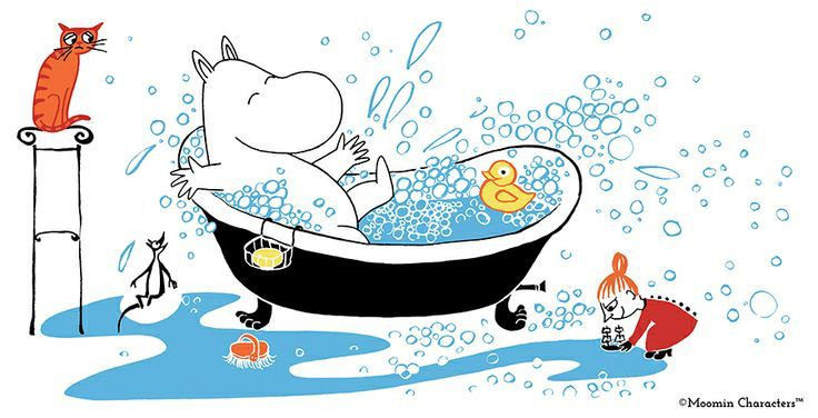 Moomin taking a bath, aw!