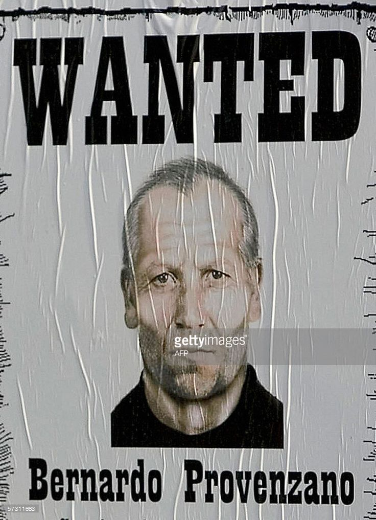 - Picture taken 28 April 2005 in Palermo of a poster of the Sicilian Mafia's top chief Bernardo Provenzano in Bagheria Italy's most wanted man, the Cosa Nostra's 'boss of bosses' Bernardo Provenzano who has been on the run for 42 years, is arrested in Sicily. AFP PHOTO / Fabrizio VILLA