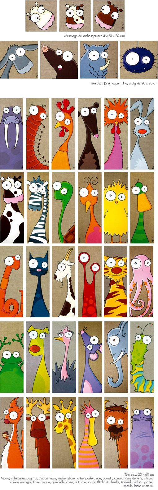 Funny animals/creatures. Inspiration for acrylic paint on tan base.