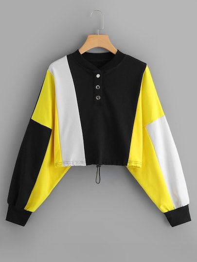 To find out about the Color Block Sweatshirt at SHEIN, part of our latest Sweatshirts ready to shop online today! Teen Fashion Outfits, Trendy Outfits, Girl Outfits, Sweatshirts Online, Mens Sweatshirts, Crop Top Outfits, Ideias Fashion, Autumn Fashion, Clothes