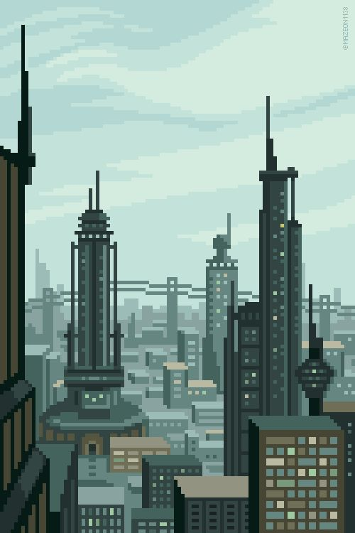 Future City pixel art by @Planet Mazeon