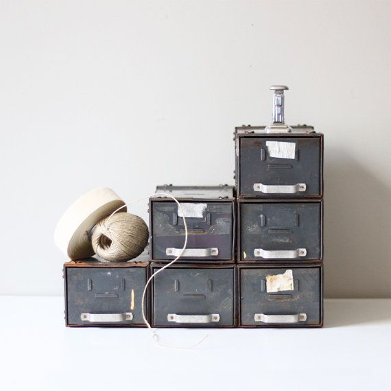 vintage stacking file / industrial storage cabinet no2