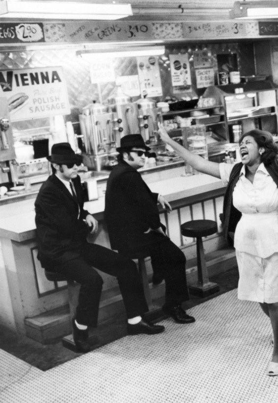 Dan Aykroyd and John Belushi. The Blues Brothers. And Aretha Franklin