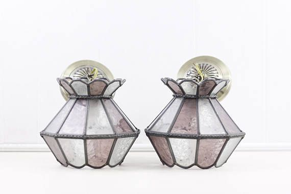 Classic glass lamp shades in pink and clear glass set in grey metal (lead or pewter) Great ceiling lights or pendant lights, these lamps would looks great in any rustic farmhouse home decor, or as a porch lights or vintage lanterns.