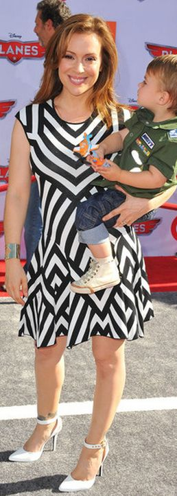 Who made Alyssa Milano's black and white stripe dress that she wore in Hollywood on August 5, 2013?