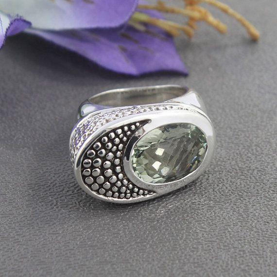 Prasiolite gemma ciondolo, ciondolo ametista verde, 925 gioielli in argento, ciondolo portafortuna, lunetta Set collana gioielli, R-33-56
