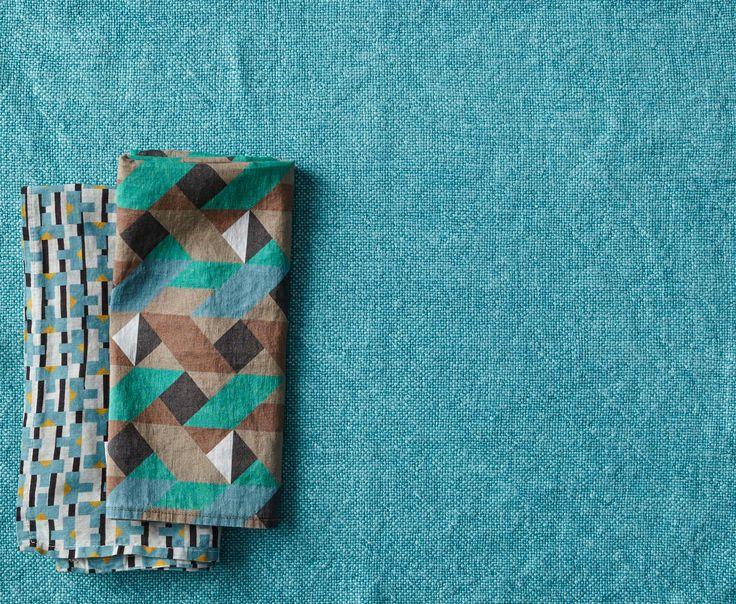 Society Limonta | Chess linen table mat and lite linen/cotton napkins_ blue acquamarina  www.societylimonta.com