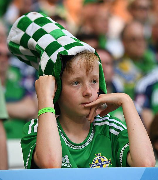 Northern Ireland fans react after the UEFA EURO 2016 Group C match between Poland v Northern Ireland at Allianz Riviera Stadium on June 12 2016 in...