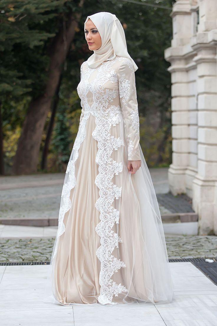 Tesettürlü Abiye Elbise - Dantel Detaylı Beyaz Abiye Elbise