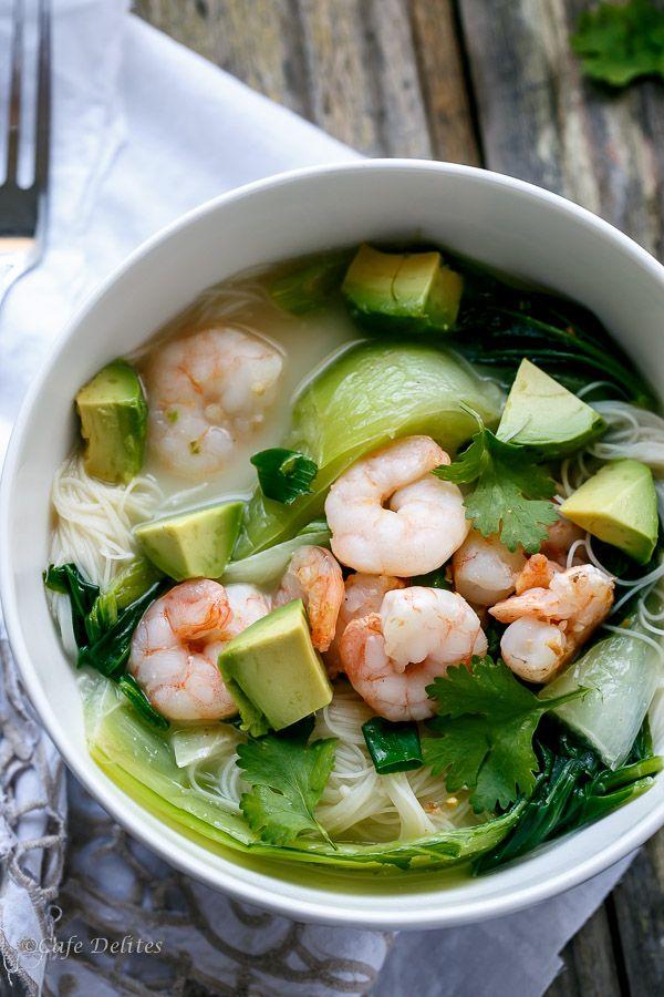Thai Style Prawn (Shrimp) and Avocado Noodle Bowls by cafedelites #Soup #Noodle_Bowl #Shrimp #Avocado #Thai #Healthy #Light