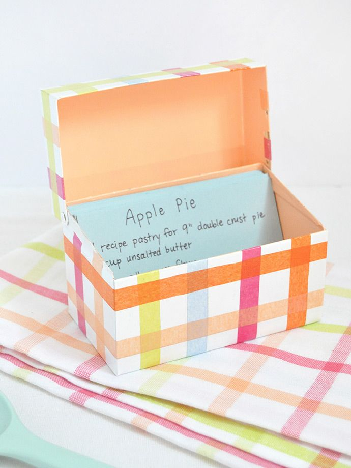 How adorable is this DIY mod podge recipe box from Handmade Charlotte? It's the perfect way to put a personal touch in your kitchen while staying organized. This craft idea would also make a great gift. Click in to learn how to make a recipe box.