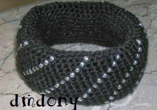 bracciale uncinetto lana e perline