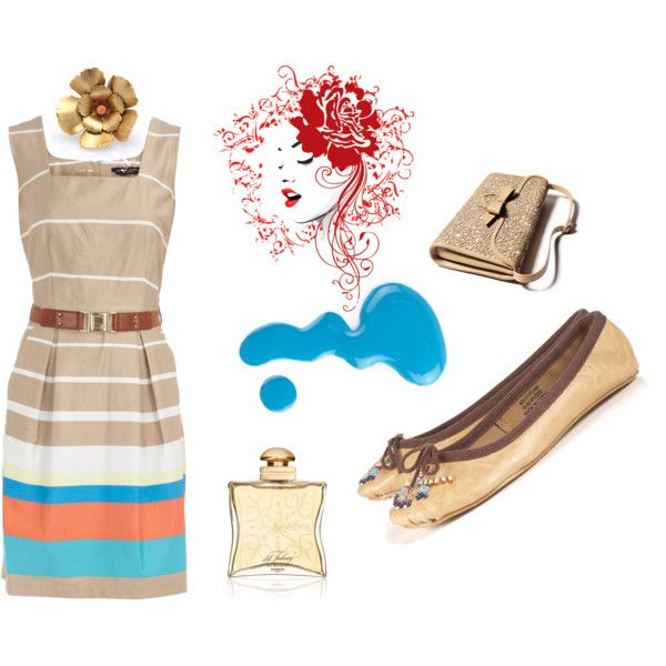Gold Stripes by kikajit on Polyvore featuring Dorothy Perkins, Christian Louboutin, Citrine By The Stones, Hermès and Jack Wills