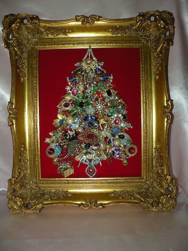 "VTG Rhinestones Jewelry XMAS Tree in VTG Ornate Wood Carved Gilded Frame 17""X20"""