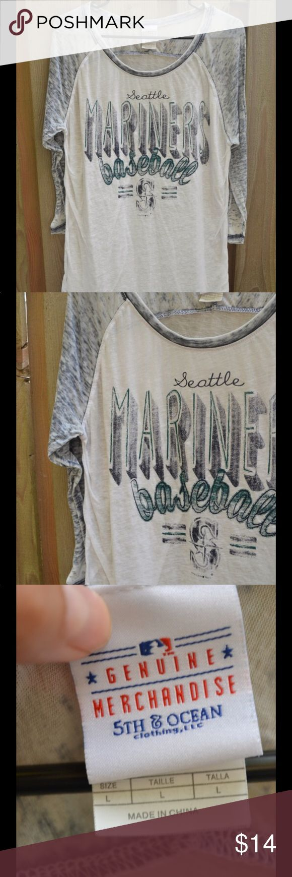 """Seattle Mariners Top - Size Large! This top is a size large and says """"Seattle Mariners Baseball"""", genuine MLB merchandise! The material is somewhat shear and it also has 3/4 length sleeves. Rep the Mariners or Seattle this season :) 5th & Ocean Tops Tees - Long Sleeve"""