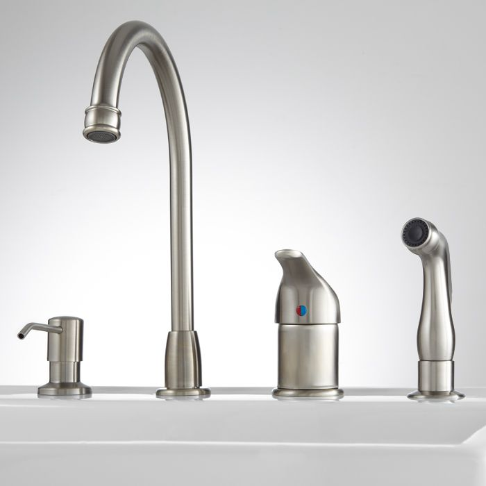 Solo Widespread Kitchen Faucet With Side Spray And Soap