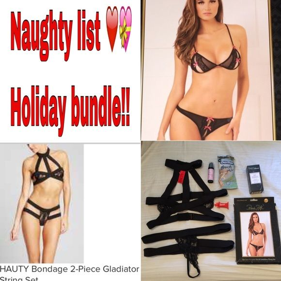 """New!!!❤️NAUGHTY LIST HOLIDAY BUNDLE! All of the items are brand new never worn or used! Two bra and panty set that are new with tags or new in box (more info in their separate listings). Then there is warming cinnamon lube, pheromones roll-on perfume, crazy girl orgasm gel, and last but certainly not least ON THE GO tooth brushing packs! Because nothing kills the  """"mood"""" like foul breath! Intimates & Sleepwear Bras"""