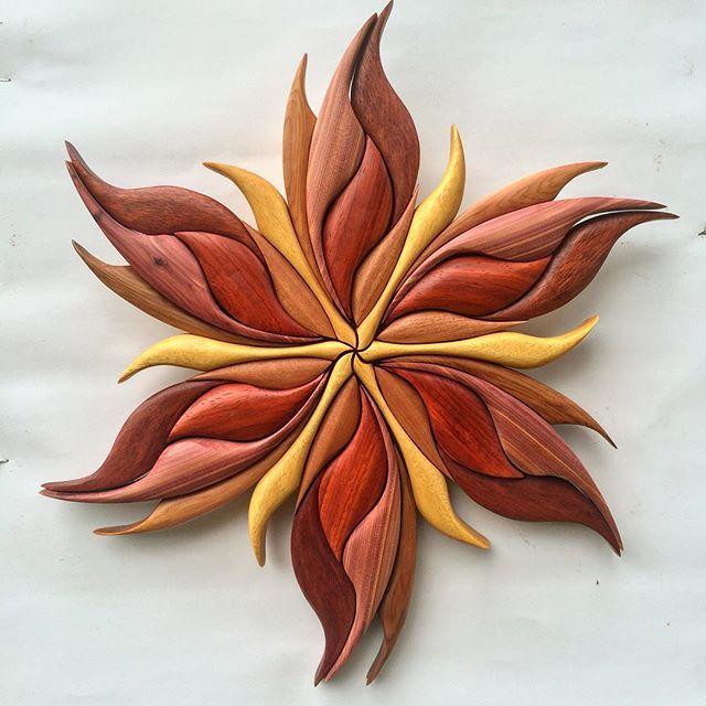 """Fire flower! New piece 15""""x15"""" Made with Yellow Heart, Pauduk, Red Cedar, Aromatic Cedar..."""