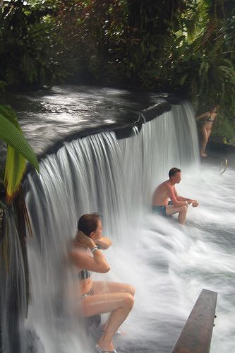 The further you climb up, the hotter the springs. Tabacon Hot Springs at the foot of the Arenal Volcano, Costa Rica.