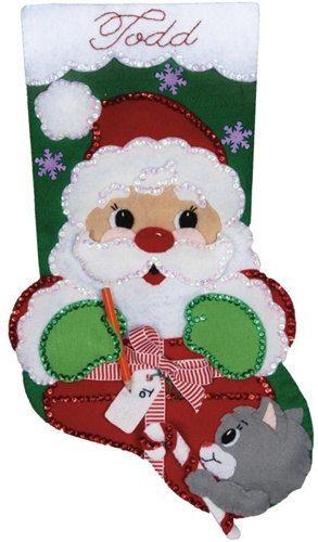 VENTA / MEDIA KIT / Presente de Santa / Navidad - calcetín - gato - Regalos / Design Works fieltro Kit