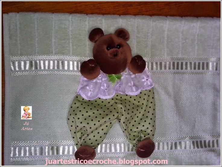 ju artes croche e trico: Toalhinha de boca ursinho de fuxico - 1 projeto por mês