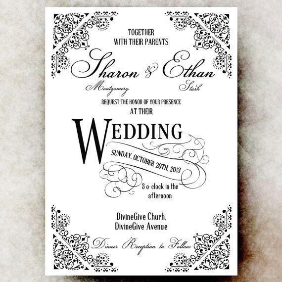 Black and White Wedding Invitation - Vintage Wedding Invitation - Printable Digital Invitation DIY