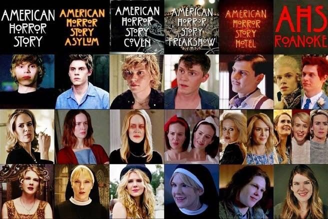 Evan Peters, Lily Rabe, and Sarah Paulson in each season of AHS