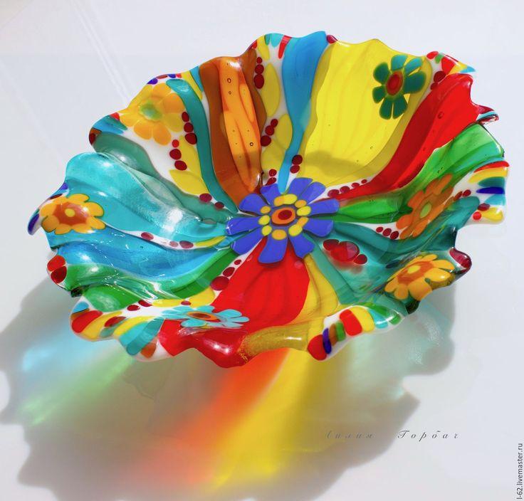 Купить блюдо из стекла, фьюзинг Цветочная карусель - комбинированный, Фьюзинг, стекло, посуда, посуда из стекла