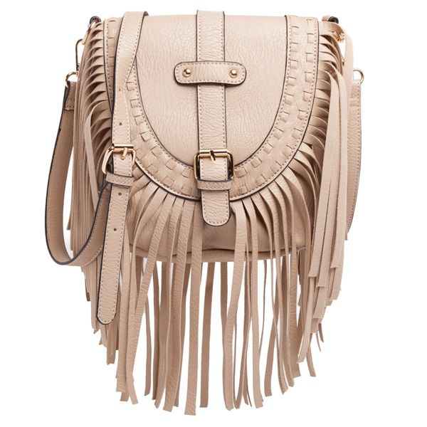 Nude small shoulder bag with fringes, featuring three internal pockets.