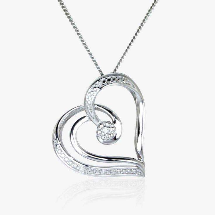 The Dahlia Real Sterling Silver Diamond Heart Necklace - Emi Gear - Online StoreEmi Gear – Online Store