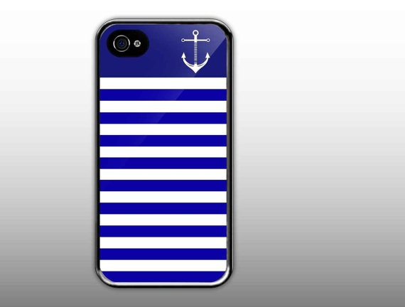 iPhone 4/4s Case  Blue Stripes Cute With Anchor  by NewCaseDesign, $15.50