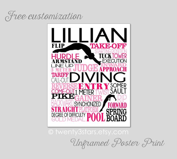 Girl's Diving Art Print. Makes a great gift for any female diver. Shown in hot pink, pink and black - by twenty3stars.com