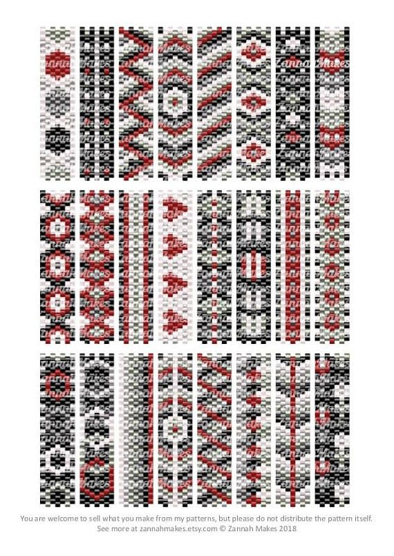 Carrier Bead Patterns, Odd Count Peyote, Six-Colour Patterns, Full Word Charts, Colourway 1 Carrier beads need strips 7 beads wide, and either 48 or 50 rows, depending on the manufacturer. Ive designed to 48 rows as it meant I was more likely to be able to join patterns as I could use