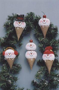snowman ice cream cones christmas crafts