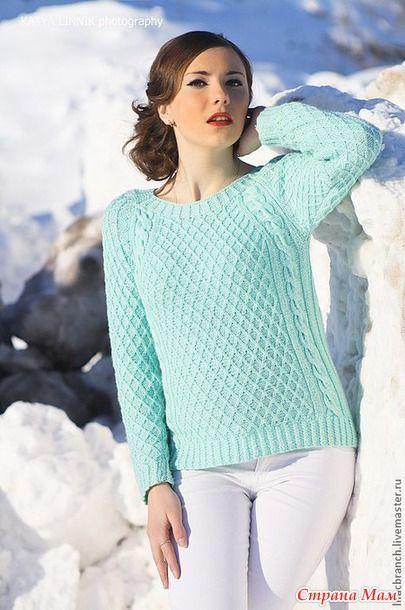 Пуловер регланом сверху
