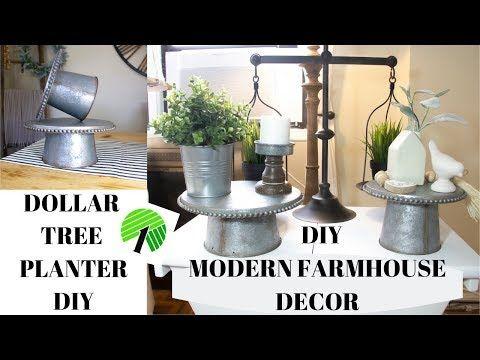 DIY MODERN FARMHOUSE DECOR-DOLLAR TREE PLANTER DIY…