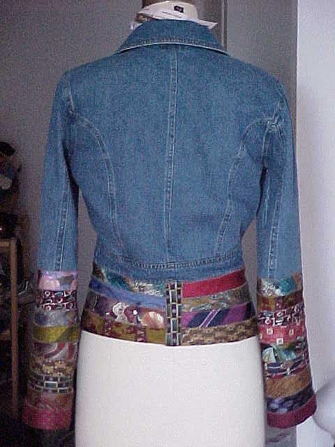 Embellish with neckties. denim jacket back view by hautaboo, via Flickr