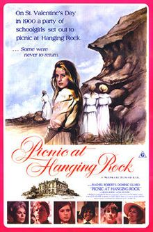 """PICNIC AT HANGING ROCK""  1975 Australian film.  Adapted from a novel by Joan Lindsey which was published in 1967.  Beautiful cinematography.  Stars the great Rachel Roberts.  It's a GREAT movie."