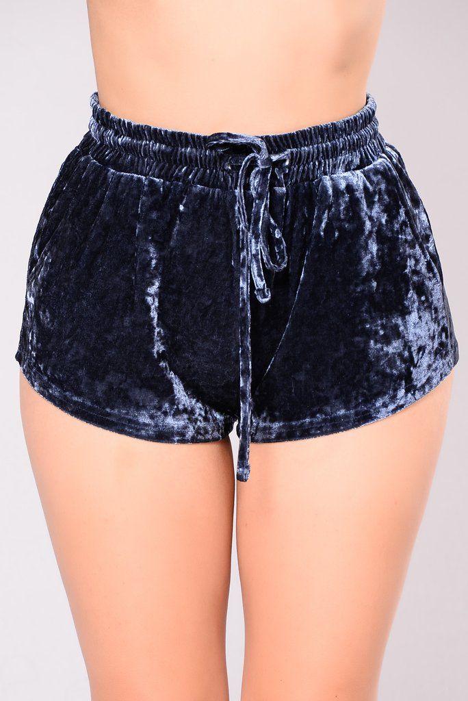 Samantha Velvet Shorts - Slate Blue