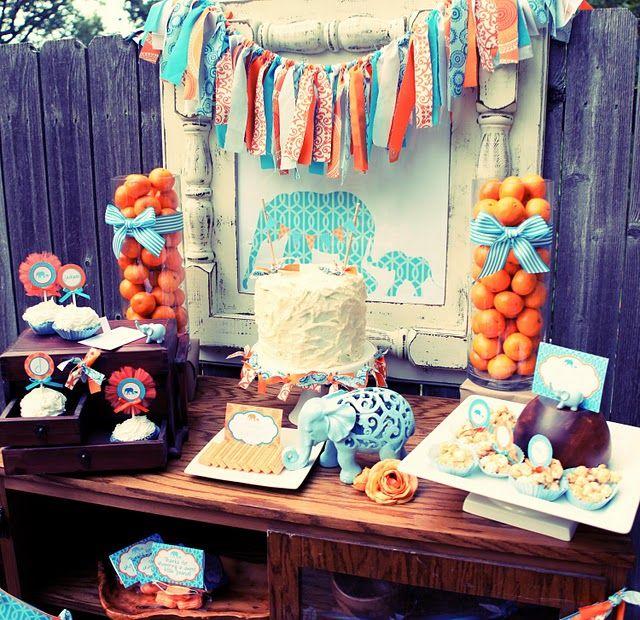 orange and blue elephant party