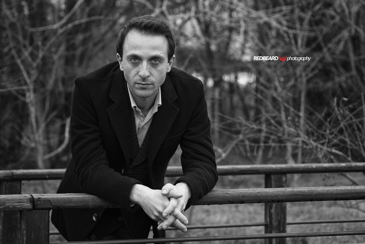 Black and white outdoor portrait in natural light of Fabio Morici, actor, writer and scriptwriter