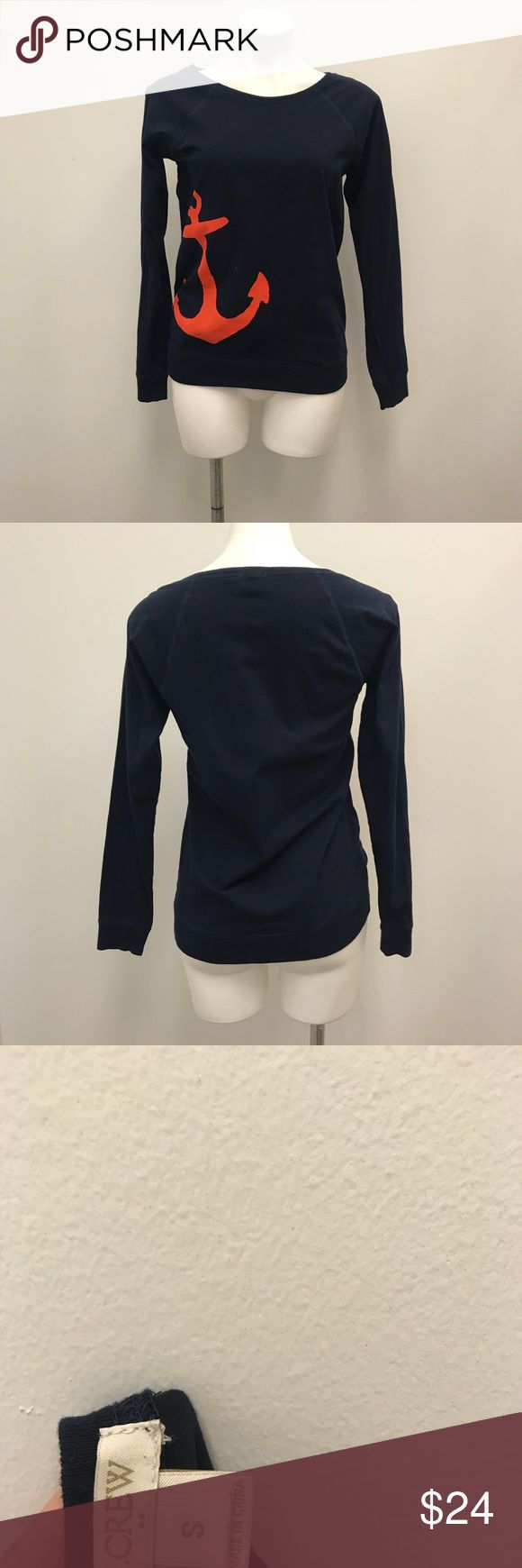 J. Crew factory size s navy nautical anchor top Cute and nautical is always in so why not embrace this navy long sleeved pullover from J. Crew Factory in a size small. This piece is a deep navy with red accent anchor on one side. It is in good condition with light wear from use. It is made of 100 % cotton and measures approximately 25 inches from neck seam to bottom hem, and 17.5 inches from armpit to armpit when laid flat to measure. It does not have defined shoulder seams so measuring…